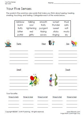 Snapshot image of Your Five Senses Worksheet A - Your students will sort the words from the word box into the categories of taste, sense, smell, see, and hear, then list their favorite things under each category. An answer key is included.