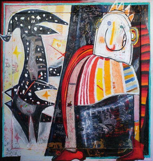"""""""Qui… Altrove"""" una mostra personale di Carin Grudda, con oli, sculture e grafica preparati per questa prima tappa Qui… a Pinerolo, ma anche Altrove, nel suo fantastico """"viaggio tra i mondi"""".  Un viaggio simbolico attraverso il linguaggio astratto-figurativo."""