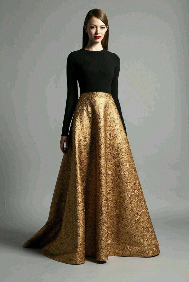 Black dress gown - Gold And Black Dress