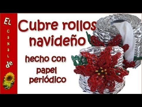 Cubre rollos navideño hecho con papel periódico ---Covers Christmas roll...