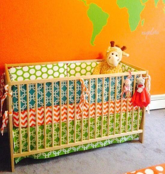 Custom Baby Bedding - Blue, Green and Orange Nursery - by #SewInLoveWithBaby
