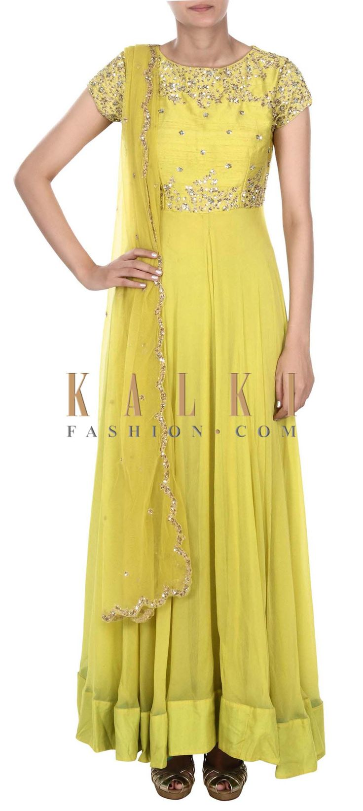 Buy this Yellow anarkali suit adorn in sequin embroidery only on Kalki