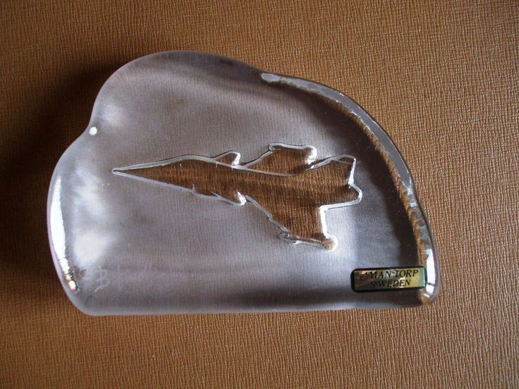 Crystal Glass Sculpture Paperweight Mantorp Sweden Fighter Jet Artist signed