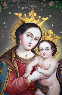 Nuestra Señora del Refugio de PecadoresA Mexican retablo painting of Our Lady Refuge of Sinners.
