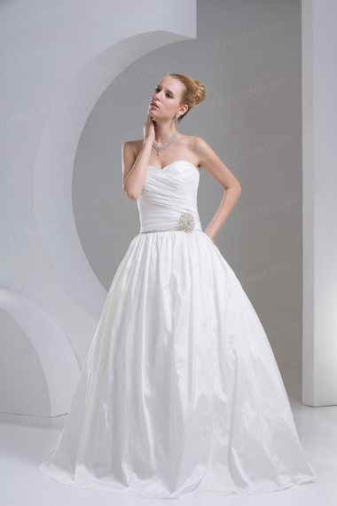 Ball Gown Sweetheart Satin Taffeta Floor Length Pleated Wedding Dress