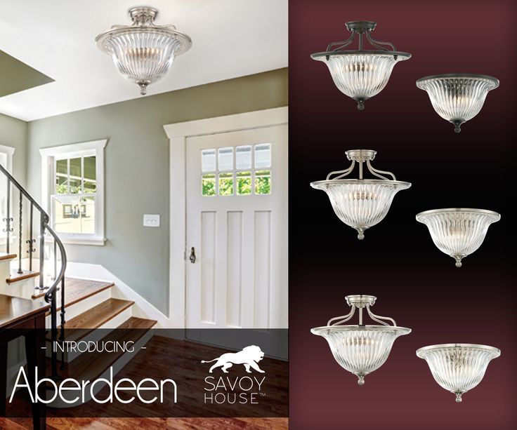 The Elegant Savoy House Aberdeen Collection Showcases A Textured Clear Ribbed Glass Shade And Your Choice Of 3 Finishes Polished Nickel Satin