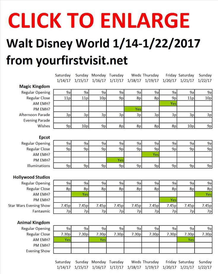 Disney World 1-14 to 1-22-2017 from yourfirstvisit.net - what to expect   Hours, Extra Magic Hours, Parades, Fireworks, and Shows