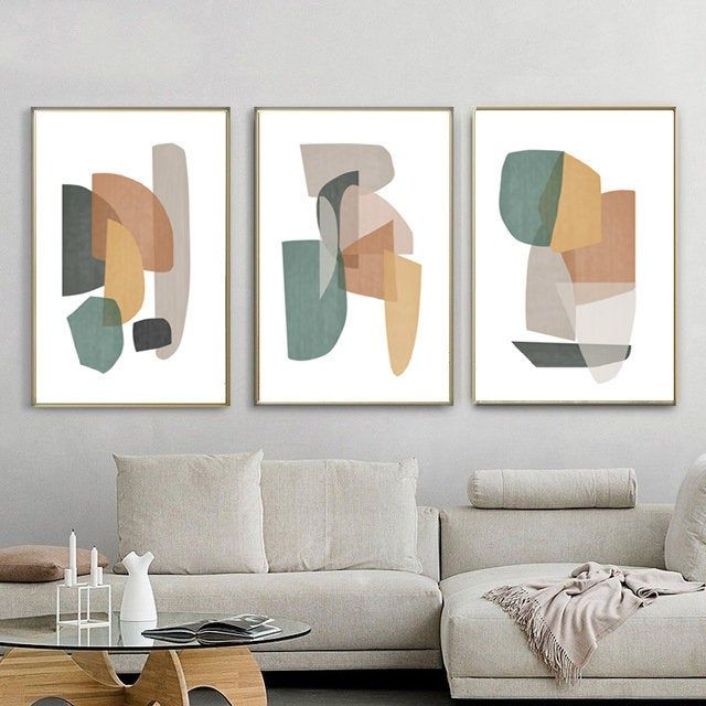 Abstract Shapes Art Set Of 3 Prints Printable Wall Art Large Artwork Geometric Poster Living Room Art Abstract Modern Art Pastel Print Abstract Wall Art Living Room Wall Printables Green Art Abstract