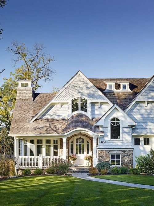 Love the porch and siding materials for this house