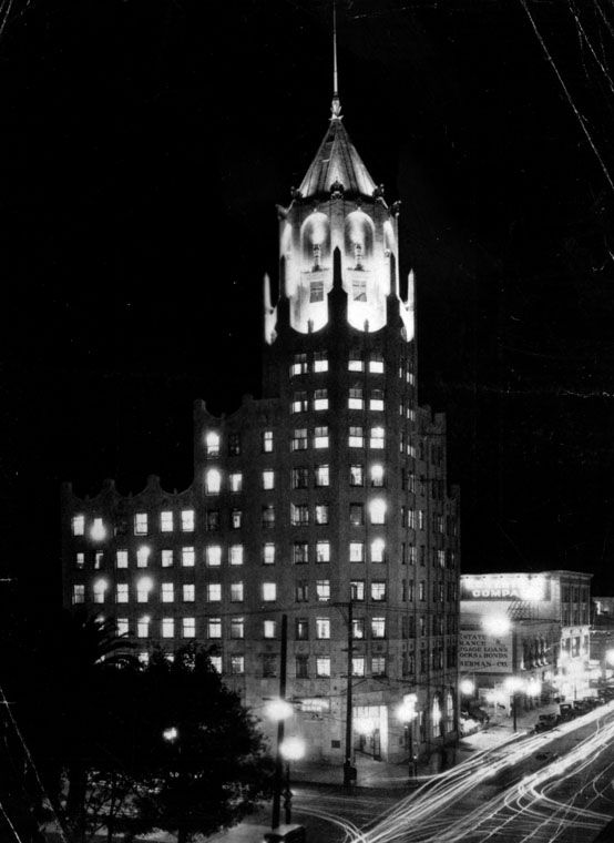 First National Bank building at night, corner of Hollywood ...