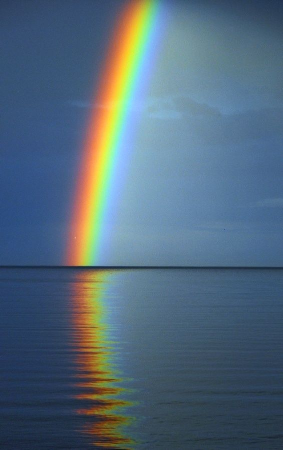 Lake Ontario/ the Spanish word is Arcoiris or acro iris.  Arco is of course arch, Iris was the Greek personification of the rainbow and messenger of the gods. She is also known as one of the goddesses of the sea and the sky Love the Spanish language.