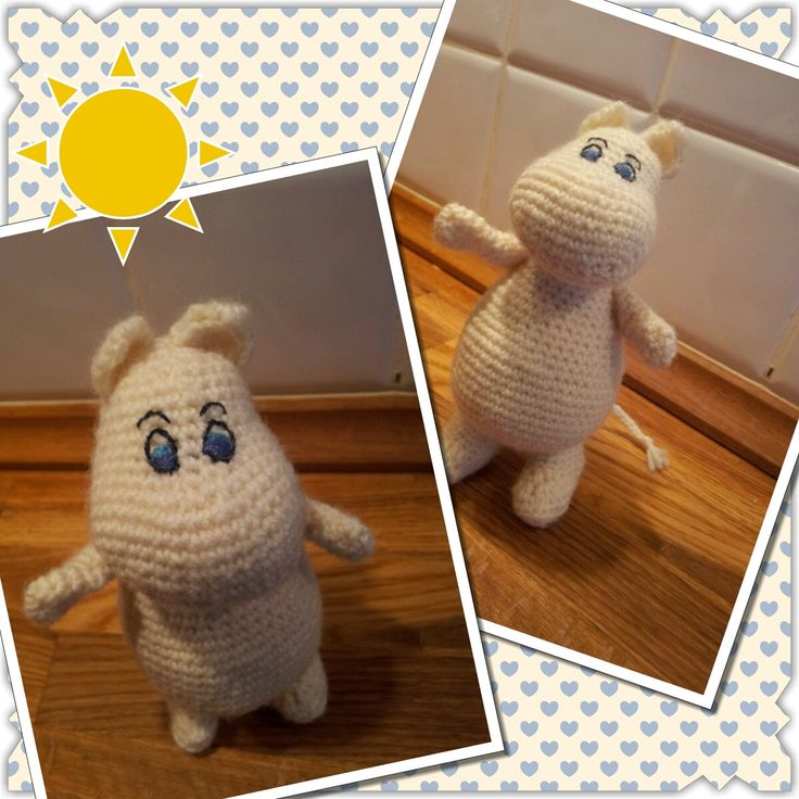Chrochet mumintroll Found a great and free pattern for this cute mumintroll: http://samigurumi.wordpress.com/2011/12/04/amigurumi-moomintroll-free-pattern-woo-yeah-free/