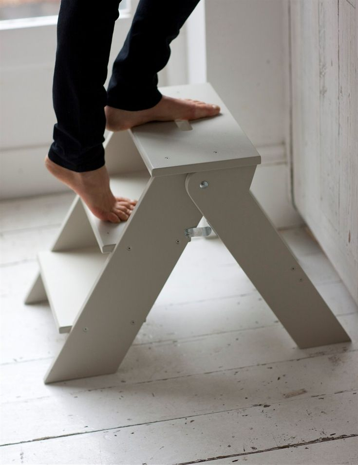 I need this!!! Ease the strain of stretching to get those hard to reach things on a shelf or cupboard with this classic step stool with three sturdy steps. This step stool folds flat for storage when not in use. Perfect for a kitchen or bathroom.