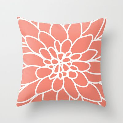 Coral Modern Dahlia Flower Throw Pillow
