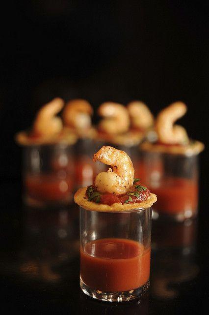 One-Bite Shrimp Cocktails Recipe with Zesty Vegetable Juice Shot