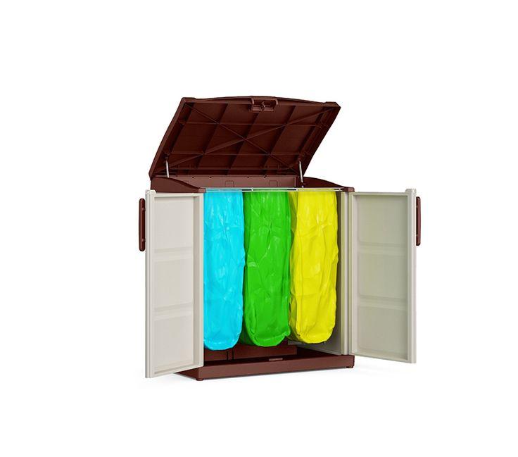 Mobile a 2 ante per la raccolta differenziata con 3 sacchetti colorati  #madeinitaly #design #recycling compact store