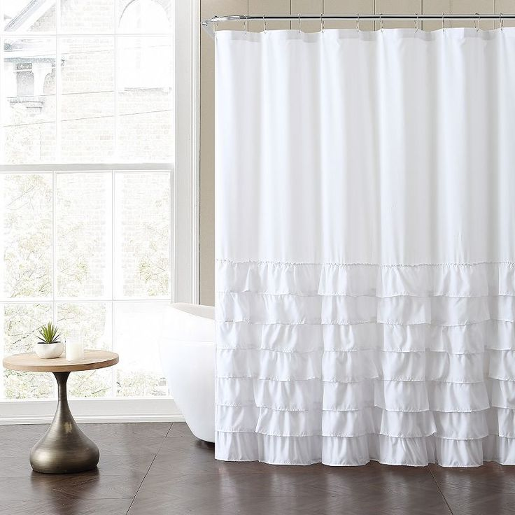 Vcny Melanie Ruffle Shower Curtain, White