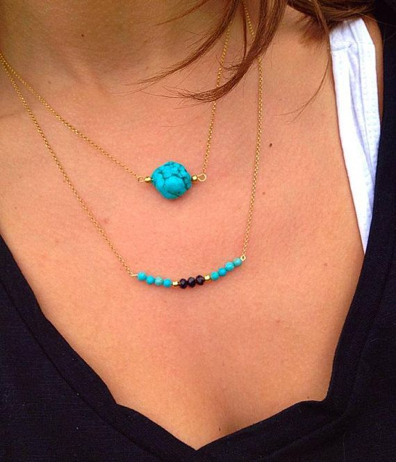 Turquoise Stone Necklace, Turquoise Necklace, 24k Gold Filled Necklaces from Sterling Silver 925, Made in Greece.