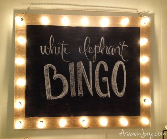 White elephant bingo party! Homemade jazzy chalkboard sign! Can reuse again and again for any type of party!