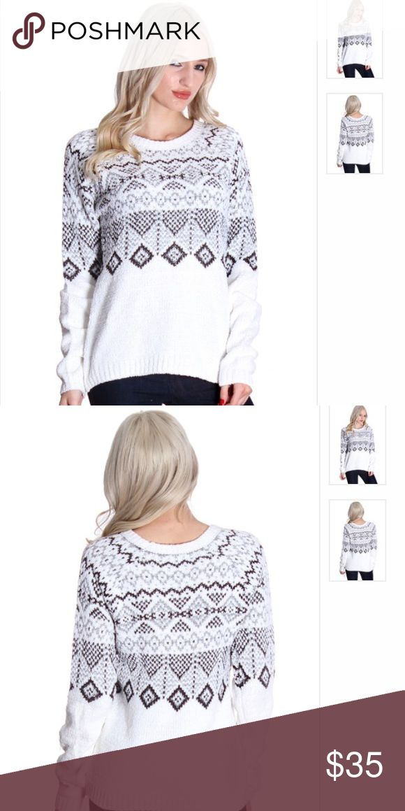 🌻 White Tribal Print Sweater 🔹Material- 66% polyester 34% acrylic. Wash instructions: machine wash cold, tumble dry low                                           🔹Measurements- Fits true to size                      🔹Bundle discounts available!                             ❌No trades                                                          ❌Price firm unless bundled Boutique Sweaters