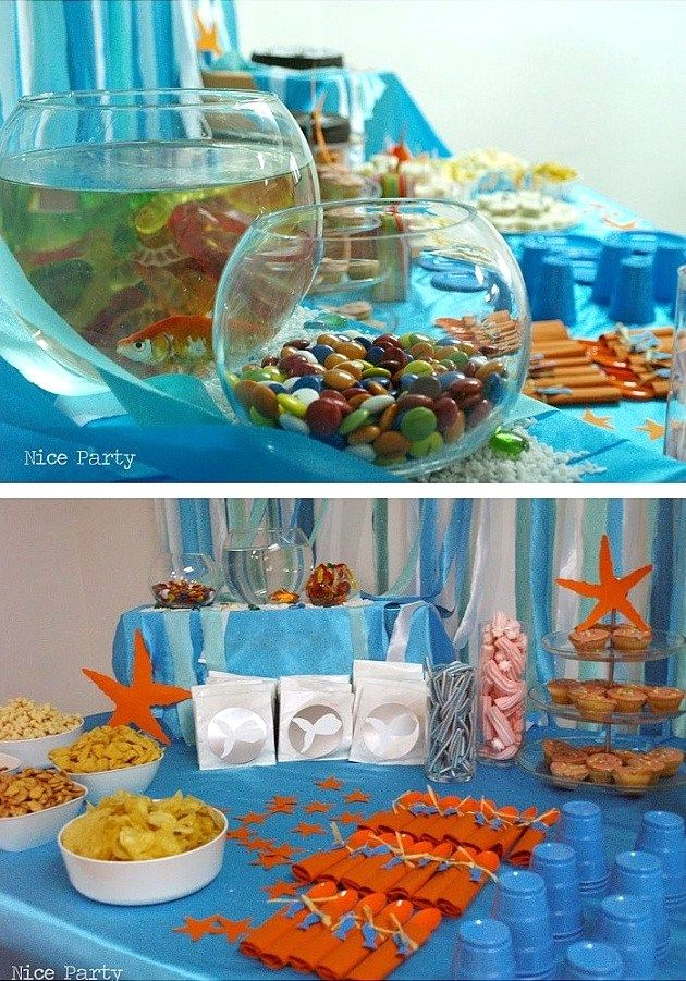 ocean themed party decor: fish bowl of treats