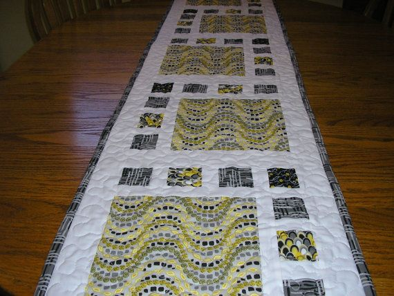 Long bed runner table runner in black gray yellow and for Table runners 52 inches