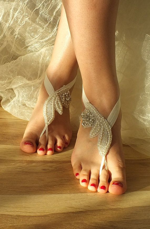 FREE SHIP Beach wedding barefoot sandals, Bridal shoes , Wedding Jewelry, Anklet…