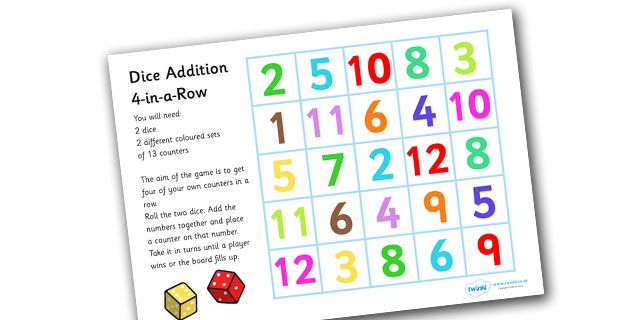 Twinkl Resources >> Four In A Row Addition Game  >> Thousands of printable primary teaching resources for EYFS, KS1, KS2 and beyond! four in a row, dice addition, game, dice addition, game, adding, games, fun, activities, 4-in-a-row, maths, counting, numeracy, counters,