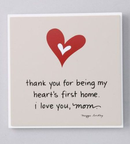 Happy Mothers Day Cards. Thank You For Being My Heartu0027s First Home. I Love