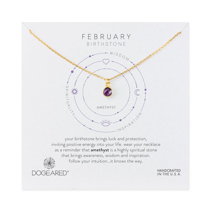 february amethyst birthstone necklace, gold dipped