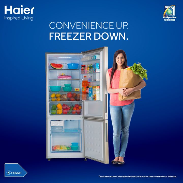 #Haier #BotomMountedRefrigerator: Eliminate bending by 90% and  use your #refrigerator with great convenience!   #HaierIndia #Technology #Appliances #InspiredLiving #Innovation #Fridge #Refrigerators #Haier