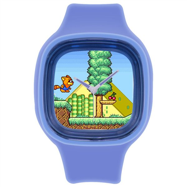 8bit Retro Gamer Blue hipster print watch Royal Blue Square Silicone... ($26) ❤ liked on Polyvore featuring jewelry, watches, silicone strap watches, retro jewelry, royal blue jewelry, leather-strap watches and blue watches