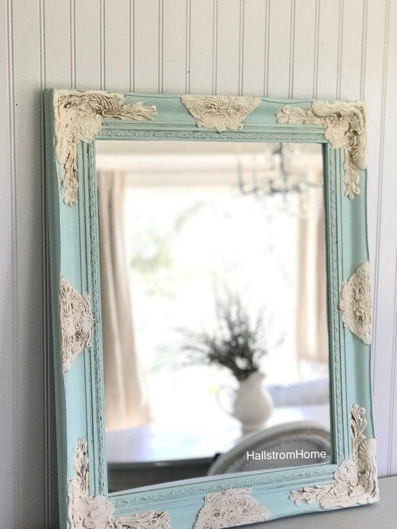92f440b7a4558 Blue and White Wall Mirror