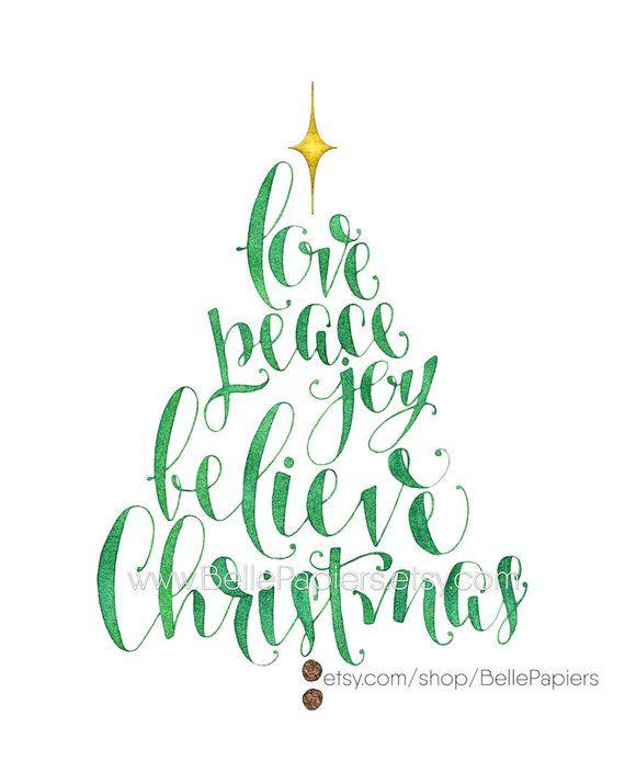 Christmas Decoration Christmas Tree Wall Art Christmas Tree Words Peace Love Joy Believe Christmas Holiday Calligraphy Christmas Wishes Sentimentos