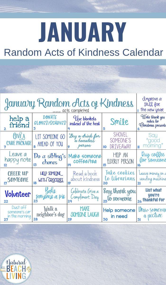 January Random Acts of Kindness Ideas Calendar   Free