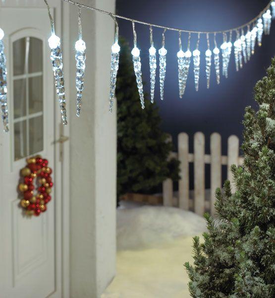 Eiszapfen-Lichterkette als Weihnachtsbeleuchtung LED Lichterkette mit 40 Eiszapfen