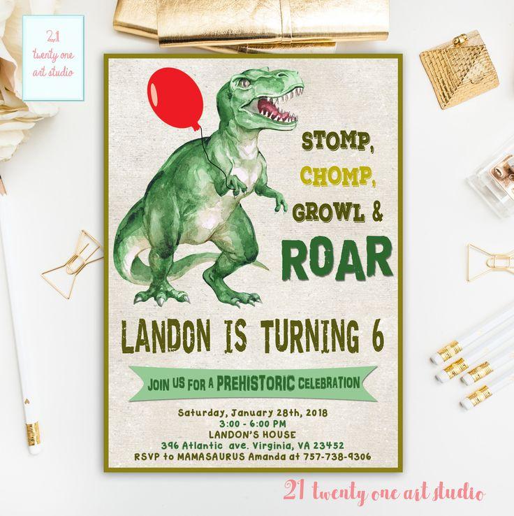 Dinosaur Birthday Invitation, Dinosaur Party Invite, Dino Invitation, Printable Digital Invitation