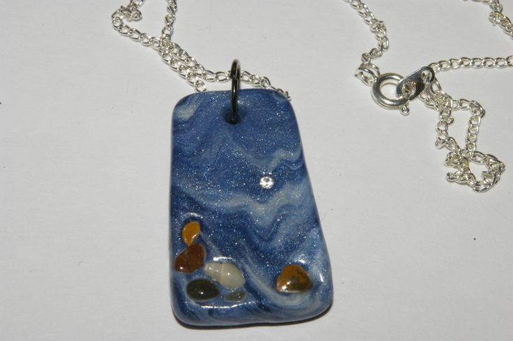 handmade polymer fimo clay necklace, pendant with a swarovski crystal, on chain.