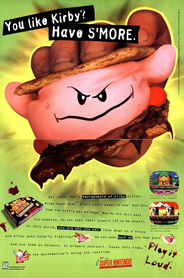 You like Kirby? Have S'more. Play It Loud! SNES ad