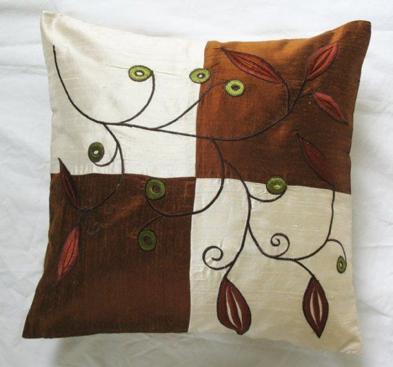 Pure silk Cream and Brown cushion cover with abstract leaf embroidery  in brown and olive green.  16X16 throw pillow- STOCK CLEARANCE SALE