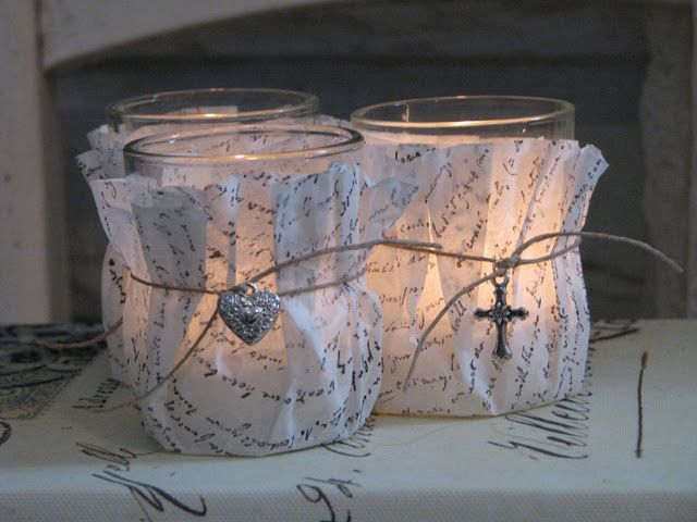 wrap hand stamped coffee filters around votives...<3