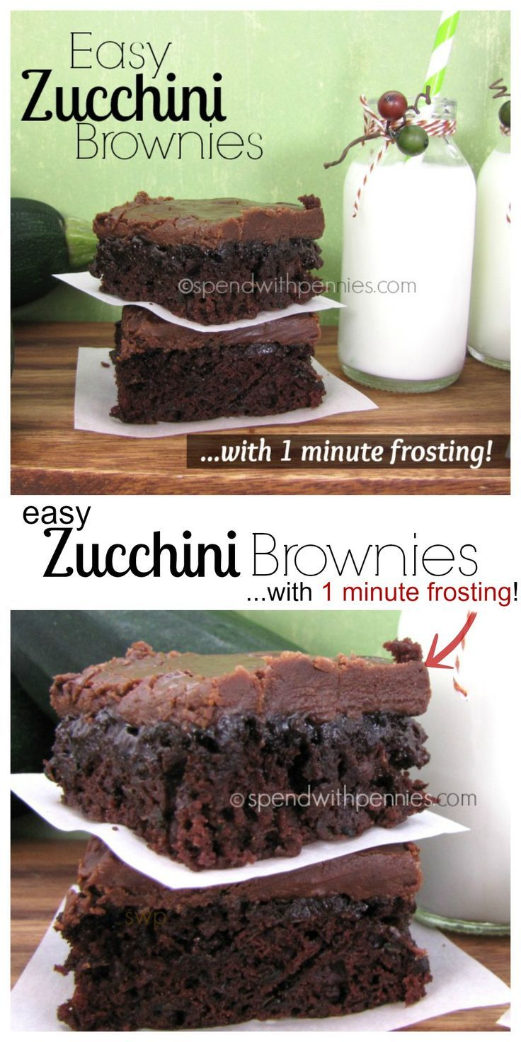 Zucchini Brownies with 1 Minute Frosting!Easy Zucchini Brownies with 1 minute Frosting!  These are quick and amazing to make...  and the zucchini keeps them so moist and amazing!  The frosting.. ridiculously yummy!