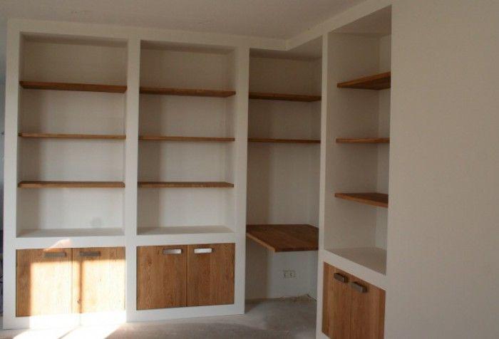 inbouw vakken kast woonkamer zelf maken brede planken - Google Search
