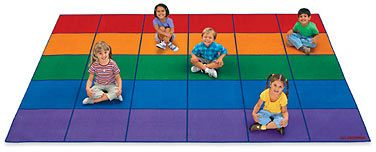 With lots of big, bold squares in 5 vibrant colors, Lakeshore's A Place for Everyone Classroom Carpets provide plenty of seating options for the whole class!