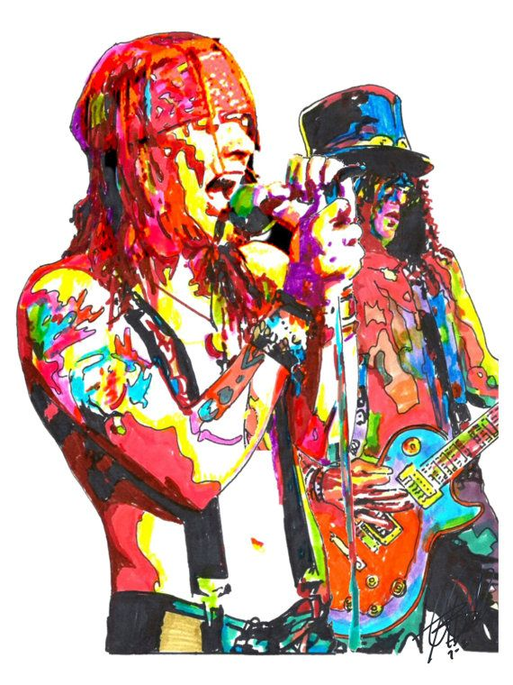 """Axl Rose & Slash of Guns N' Roses: POSTER from Original Dwg 18"""" x 24"""" Signed/Dated by Artist w/COA on Etsy, $14.99"""