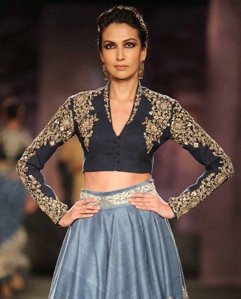 Anju Modi Dark Blue Lengha Set with Embroidered Motifs