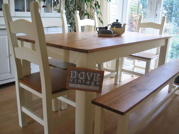 Chunky Pine Board Farmhouse Dining Table 8 seater 4 Chairs & Bench Shabby Chic