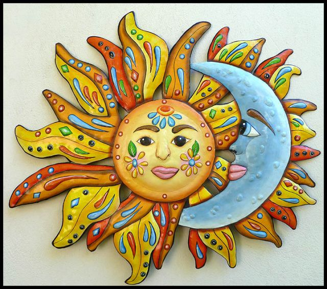 Sun moon wall decor painted metal wall hanging for Tropical metal wall art