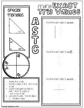 Finding Exact Trig Values Doodle Graphic Organizer (With