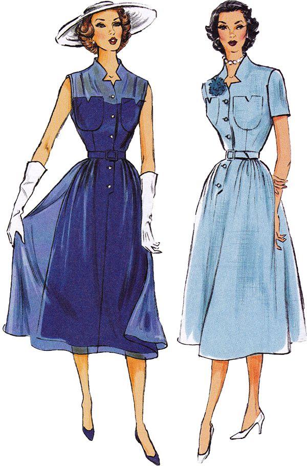 1950s Vintage Reproduction Pattern: Misses Dress, Belt & Slip. Butterick 5920